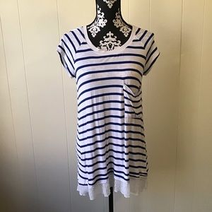 Bordeaux short sleeve stripped  top size M